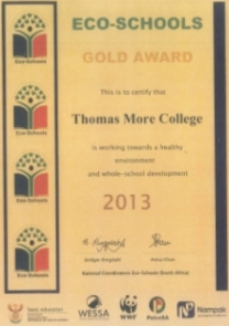 Gold Award in 2013 for Thomas More College's healthy environment